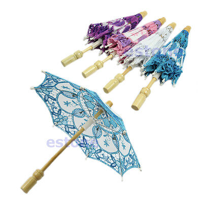 New Embroidered Lace Parasol Umbrella For Bridal Wedding Party Decoration