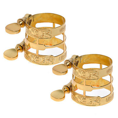 2 Set Gold Caved Ligature For Alto Saxophone Ligature Dragon Celature
