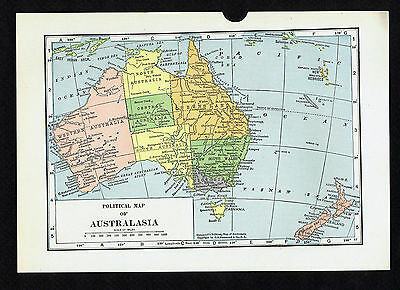 Political Map Of Australasia Vintage 1930 Map Free Shipping