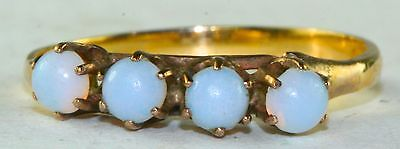 Victorian Antique 14K Gold Opal Band Ring Size 5.25