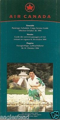 Airline Timetable - Air Canada - 30/10/94 - Now to Osaka