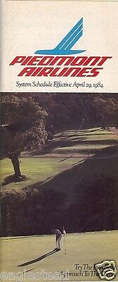Airline Timetable - Piedmont - 29/04/84
