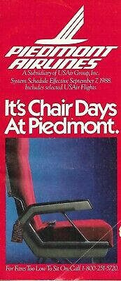 Airline Timetable - Piedmont - 07/09/88