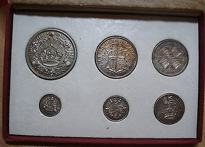 1927 George V Silver Proof Set Threepence To Wreath Crown Natural Toning + Box