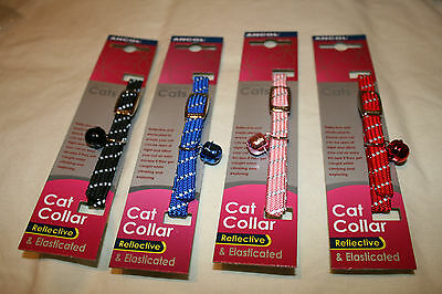 Ancol nylon  Cat Collar Safety Reflective blue pink red black elasticated