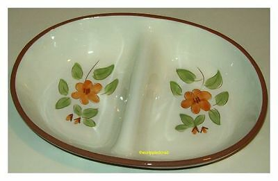 """Vintage Stangl Pottery 10"""" Oval Divided Vegetable Dish  Bittersweet Pattern"""