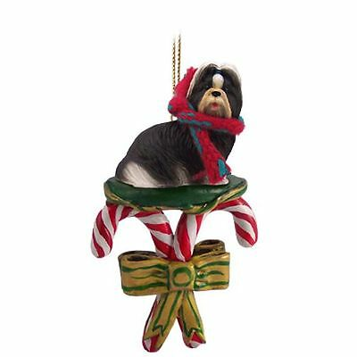 SHIH TZU Black White Dog Candy Cane Christmas Tree ORNAMENT