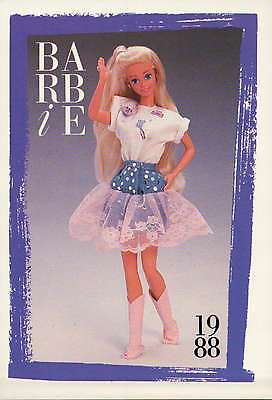 """Barbie Collectible Fashion Trading Card  """" The Jeans Look Fashions """" Skirt 1988"""