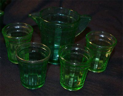 5 piece Children's Dishes Akro Agate Transparent Green depression glass set #2