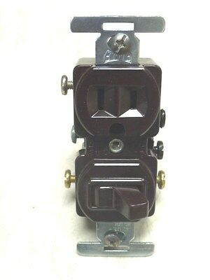 NOS! (10) Eagle 3-WAY SWITCH & 2-POLE GROUNDING RECEPTACLE, #293, BROWN