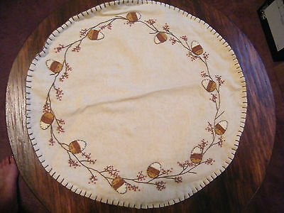 Beautiful Handmade Embroidered Appliqued Doily Ecru Acorns Berries Browns NICE