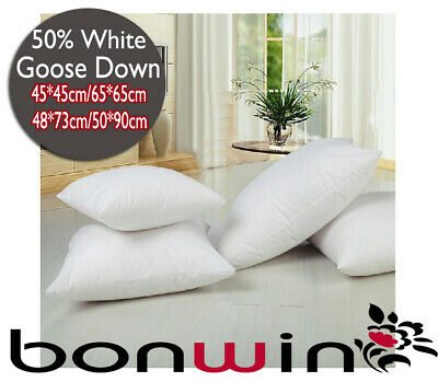 50/50 White Goose Down Standard/King/European/Cushion Pad Pillow Cotton Covered