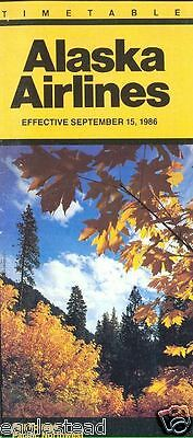 Airline Timetable - Alaska - 15/09/86 - Fall Foliage Pacific Northwest Cover