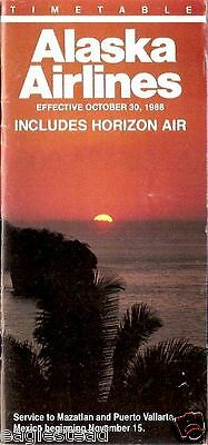 Airline Timetable - Alaska - Horizon Air - 30/10/88 - New to Mexico