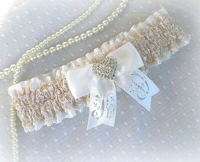 Ivory Champagne/nude Lace Bridal Personalized Garter Vintage Style