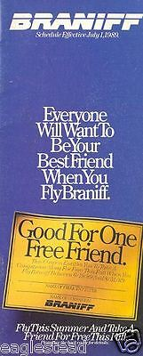 Airline Timetable - Braniff - 01/07/89