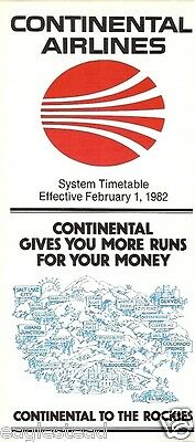Airline Timetable - Continental - 01/02/82