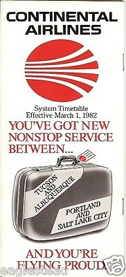Airline Timetable - Continental - 01/03/82