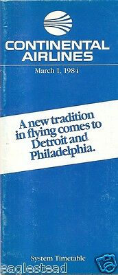 Airline Timetable - Continental - 01/03/84
