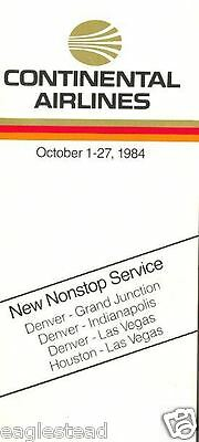 Airline Timetable - Continental - 01/10/84