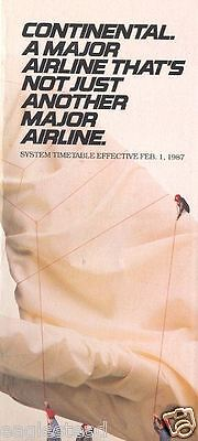 Airline Timetable - Continental - 01/02/87
