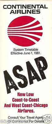Airline Timetable - Continental - 01/06/81