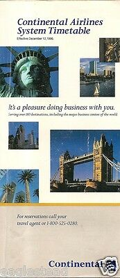 Airline Timetable - Continental - 12/12/96
