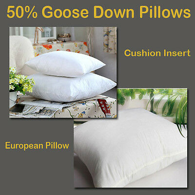 New Arrive White 50% Goose Down European Pillow/Cushion Insert with Cotton Cover