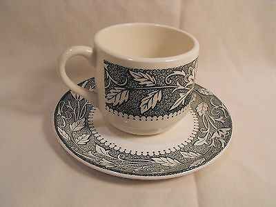Vintage J G Meakin Sterling USA  Colonial Green  Cup and Saucer Set Ironstone