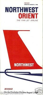 Airline Timetable - Northwest Orient - 01/08/68 - REVISED