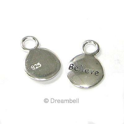 "2x Bright Sterling Silver Little Round Dangle Charm ""believe"" 10.4mm SCP394W"