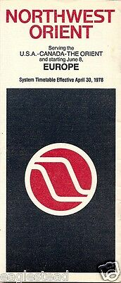 Airline Timetable - Northwest Orient - 30/04/78 - Now to Europe