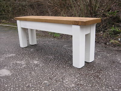 Rustic Antique Style Pine Kitchen Bench With Planked Seat