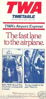 Airline Timetable - TWA - 13/12/80