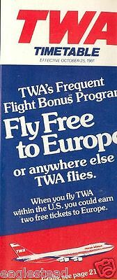 Airline Timetable - TWA - 25/10/81
