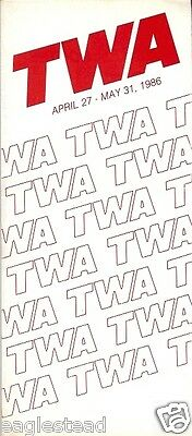 Airline Timetable - TWA - 27/04/86