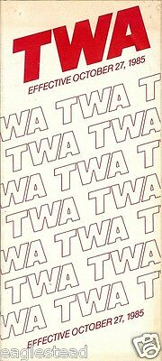 Airline Timetable - TWA - 27/10/85