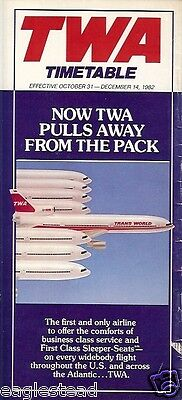 Airline Timetable - TWA - 31/10/82