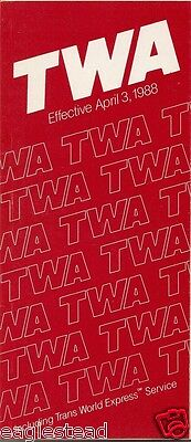 Airline Timetable - TWA - 03/04/88