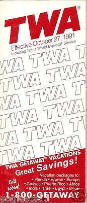 Airline Timetable - TWA - 27/10/91