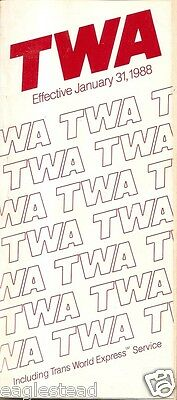 Airline Timetable - TWA - 31/01/88