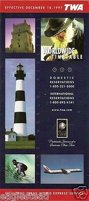 Airline Timetable - TWA - 18/12/97