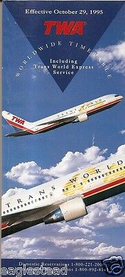 Airline Timetable - TWA - 29/10/95 - B767 Cover