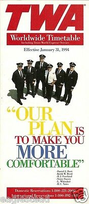 Airline Timetable - TWA - 31/01/94 - Pilots Photo Front Cover