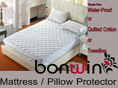 Fitted Quilted/Towelled Cotton Waterproof Mattress/Pillow Protector/Cover/Topper