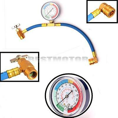 R134A Car Air Conditioning Refrigerant Recharge Measuring Kit Hose Gauge Adapter