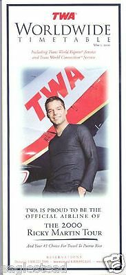 Airline Timetable - TWA - 01/05/00 - Ricky Martin Tour cover
