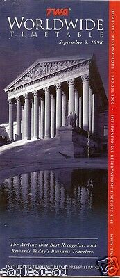 Airline Timetable - TWA - 09/09/98