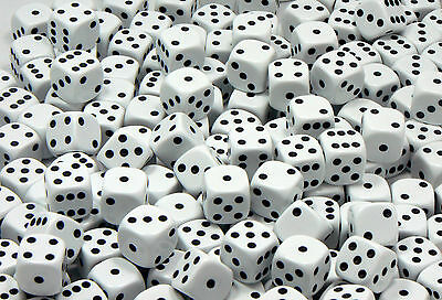 14mm White Dice - Pack of 20 Dice - D6 RPG - 6 sided spot game dice