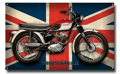 A3 Large Size Triumph Tiger Cub Motorcycle Metal Sign
